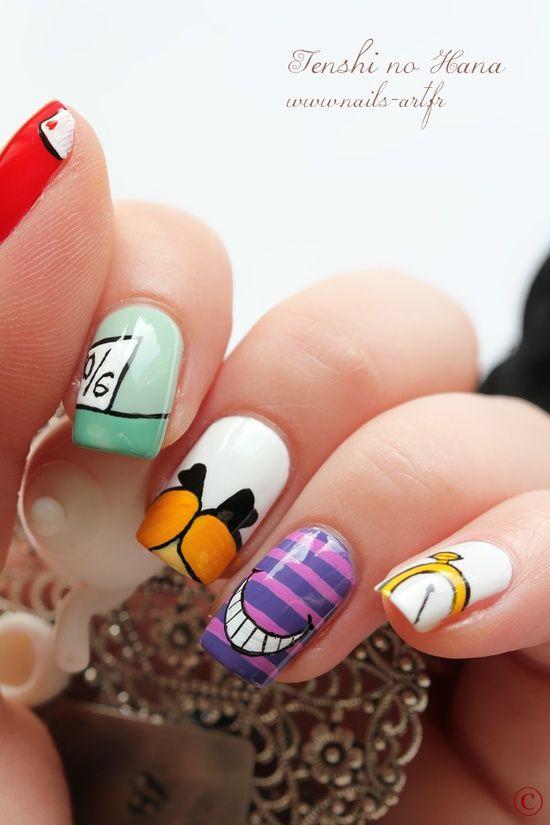 Алиса в стране чудес дизайн ногтей