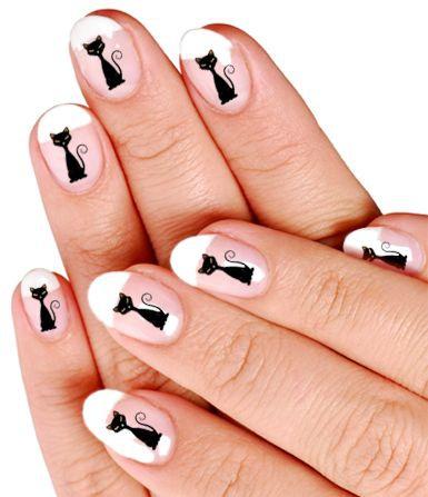 фото дизайн ногтей с кошками чёрная кошечка