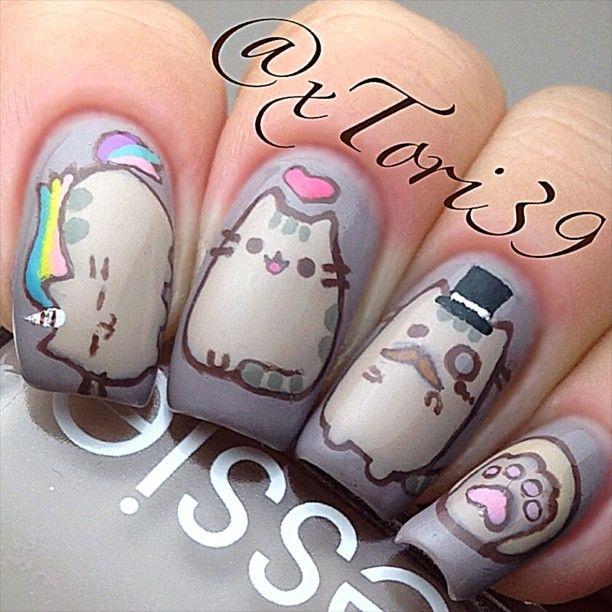 фото дизайн ногтей с кошками котэ
