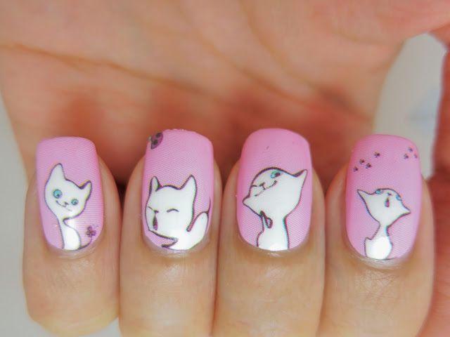 фото дизайн ногтей с кошками белый котёнок на розовом фоне