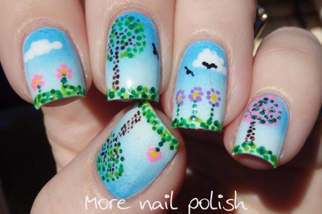 Точечный дизайн на ногтях