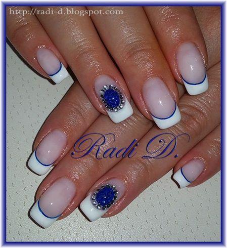 дизайн ногтей жидкий камень тёмно-синий