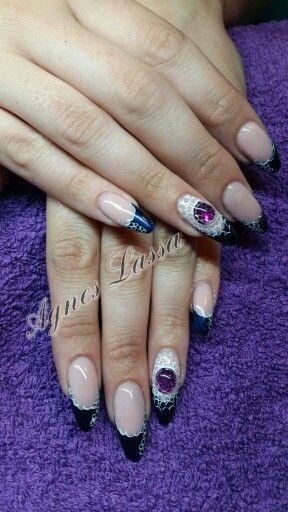 дизайн ногтей жидкий камень фиолетовый