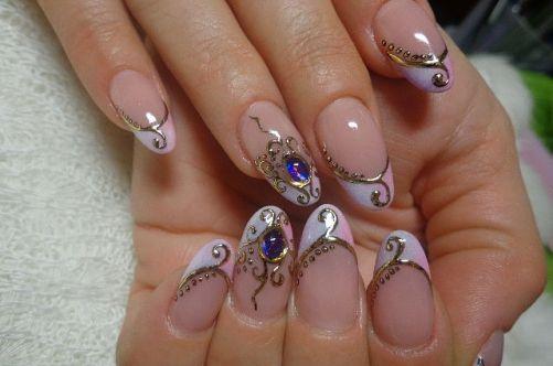 дизайн ногтей жидкий камень голубой