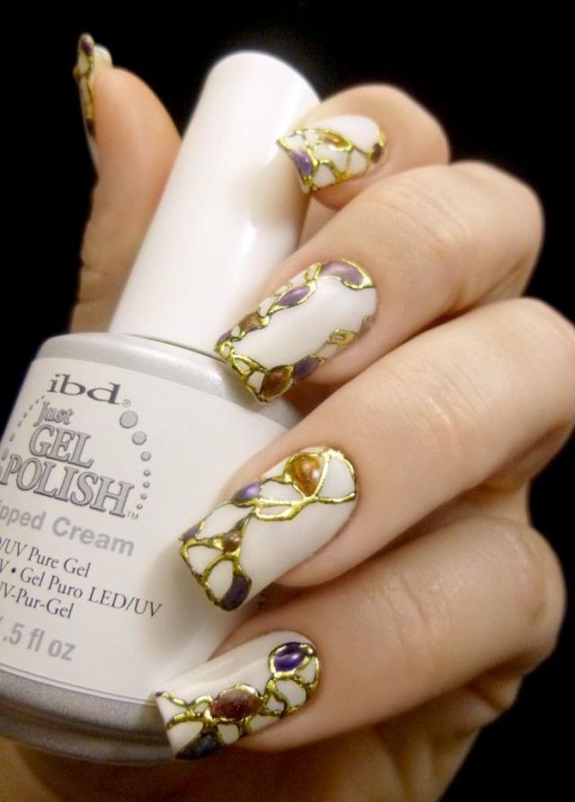 дизайн ногтей жидкий камень микс