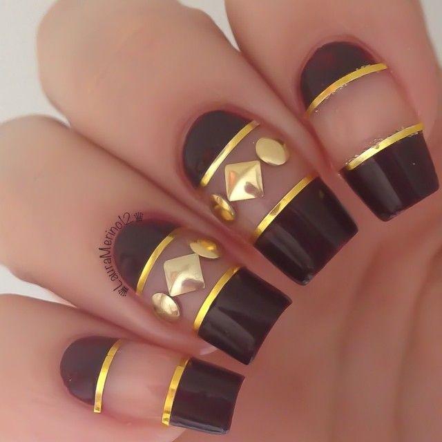 дизайн ногтей скотч лента чёрный Nail Design Scotch tape