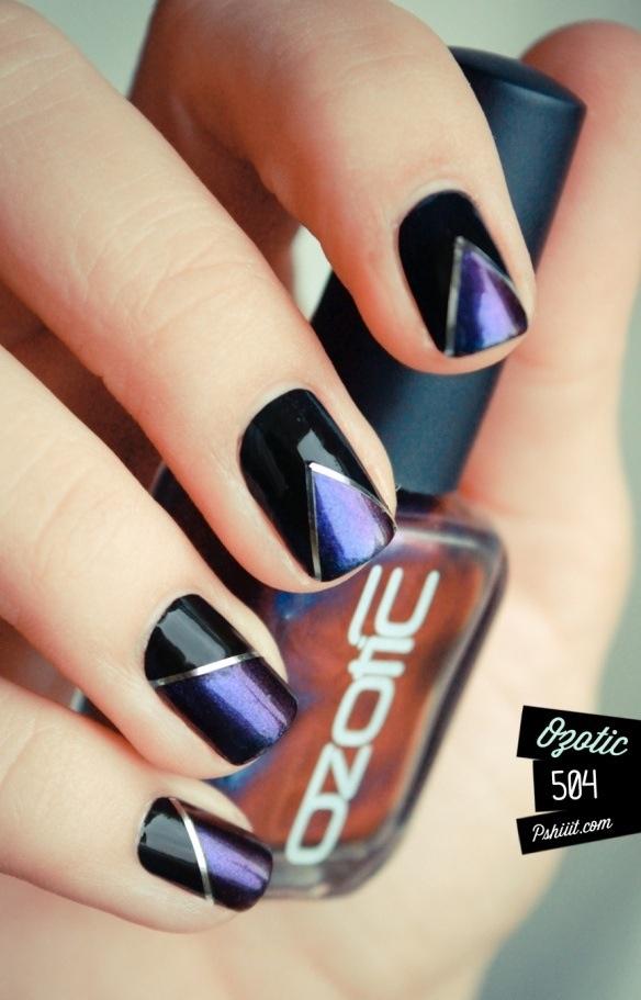 дизайн ногтей скотч лента фиолетовый Nail Design Scotch tape