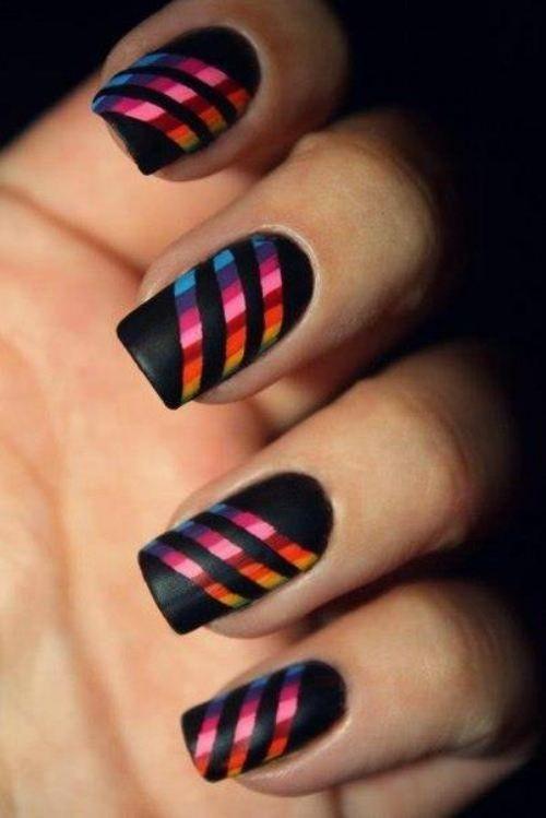 дизайн ногтей скотч лента радужные Nail Design Scotch tape