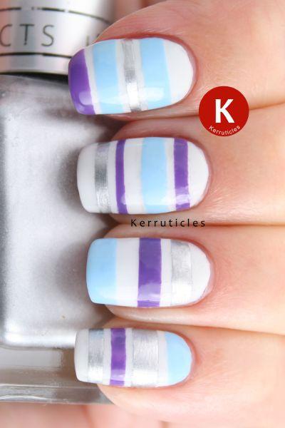 дизайн ногтей скотч лента разноцветные Nail Design Scotch tape