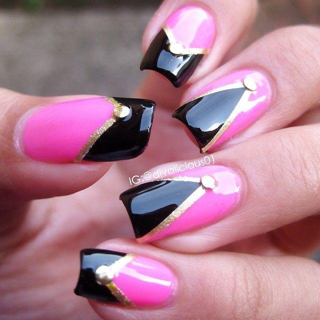 дизайн ногтей скотч лента треугольником Nail Design Scotch tape