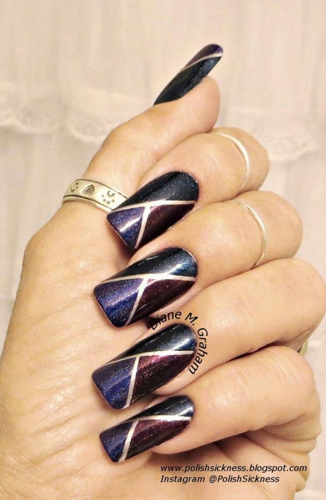 дизайн ногтей скотч лента шиммер треугольником Nail Design Scotch tape