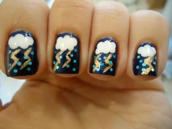 дизайн ногтей молния