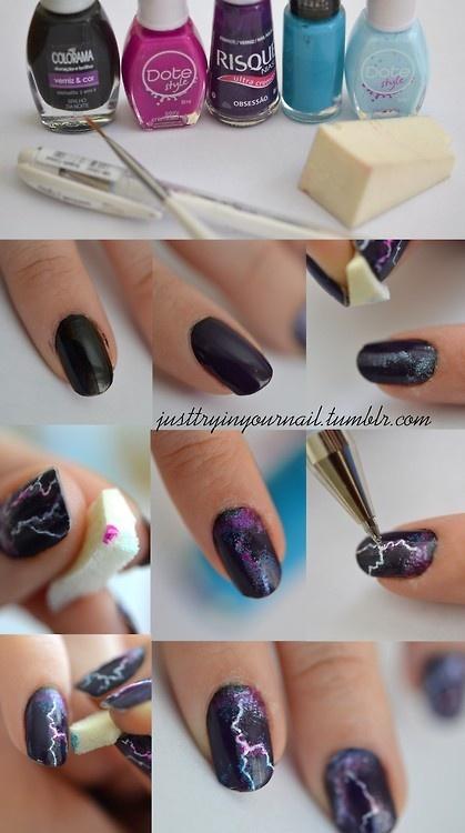 дизайн ногтей молния как делать