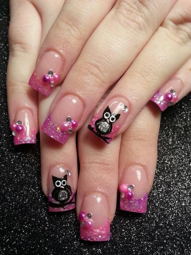 дизайн ногтей сова розовый