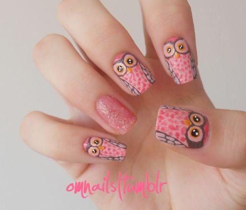 дизайн ногтей сова розовая