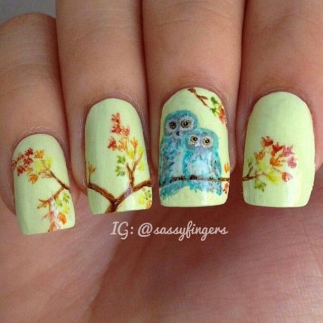 дизайн ногтей сова на ветке