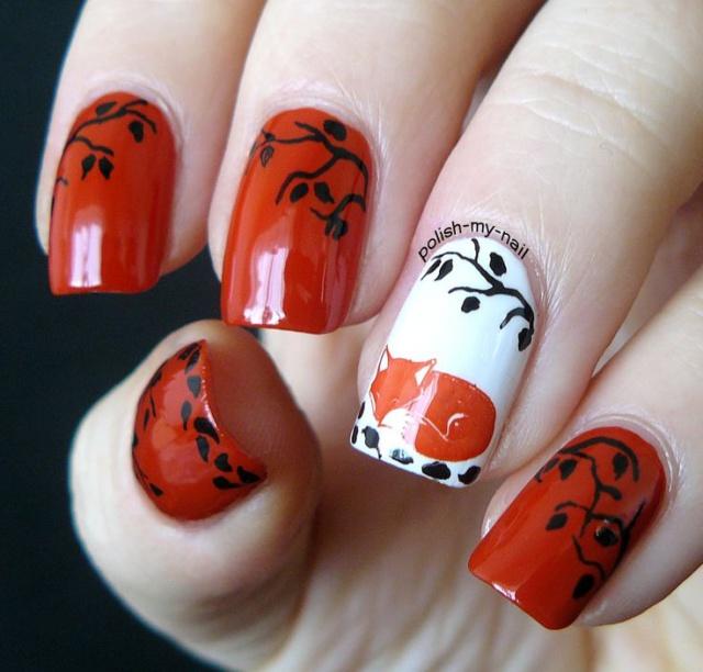 рыжие ногти фото