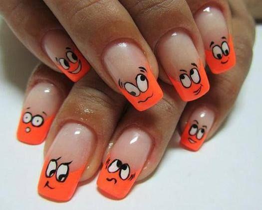 Маникюр с оранжевым цветом