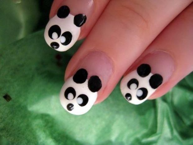 Дизайн ногтей панды