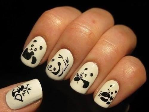 Панда на ногтях рисунки