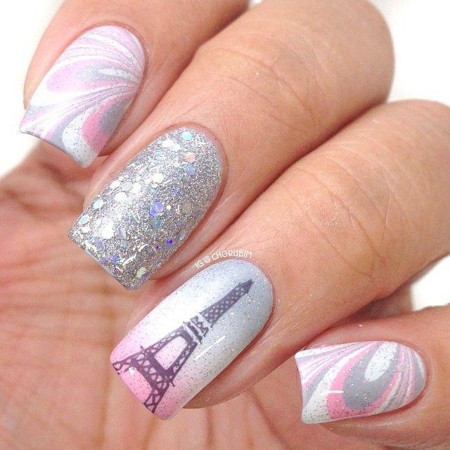 дизайн ногтей париж блёстки
