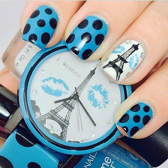 дизайн ногтей париж часы