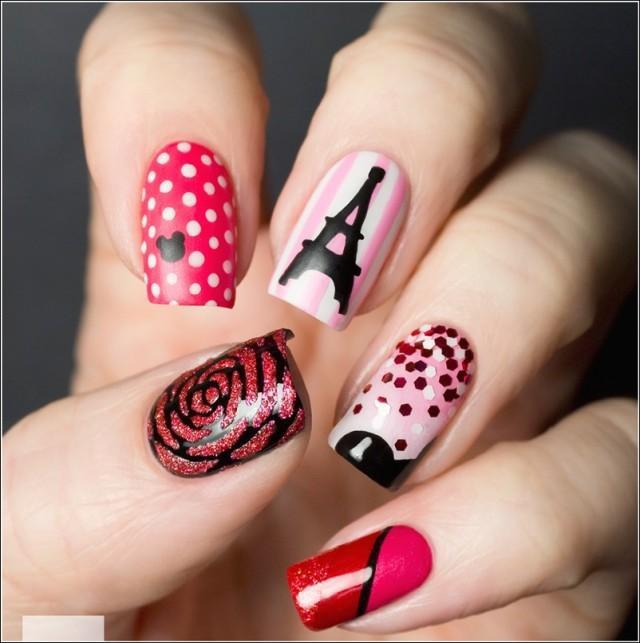 дизайн ногтей париж роза
