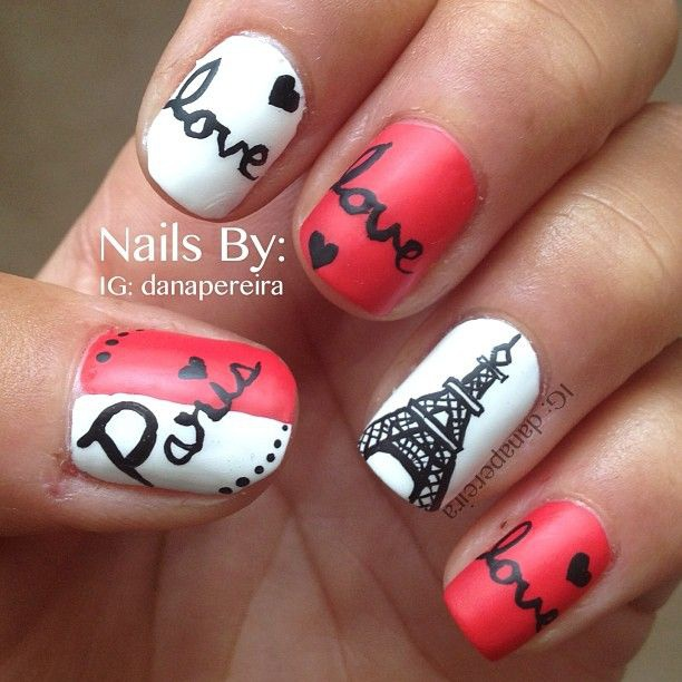 дизайн ногтей париж love