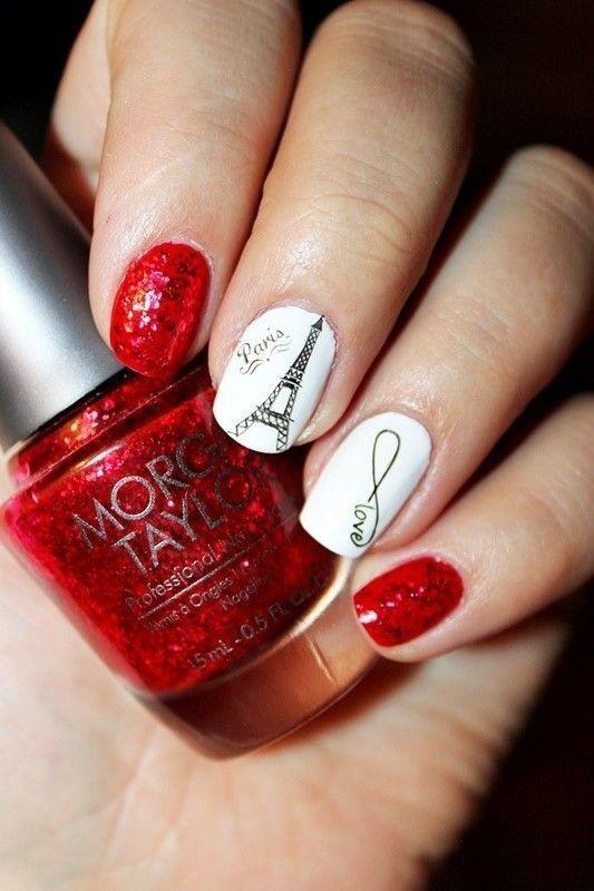 дизайн ногтей париж красно белый