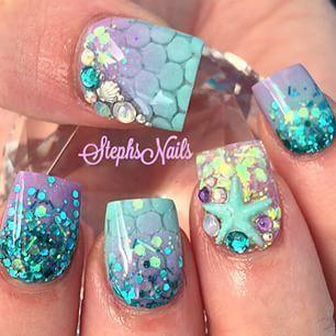 Дизайн ногти морской