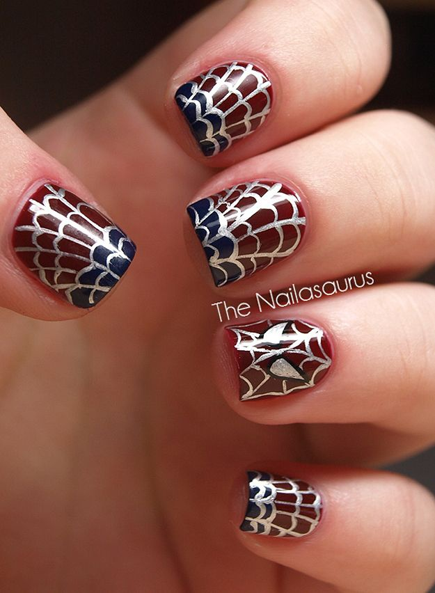 дизайн ногтей пауки спайдермен Nail Design spiders