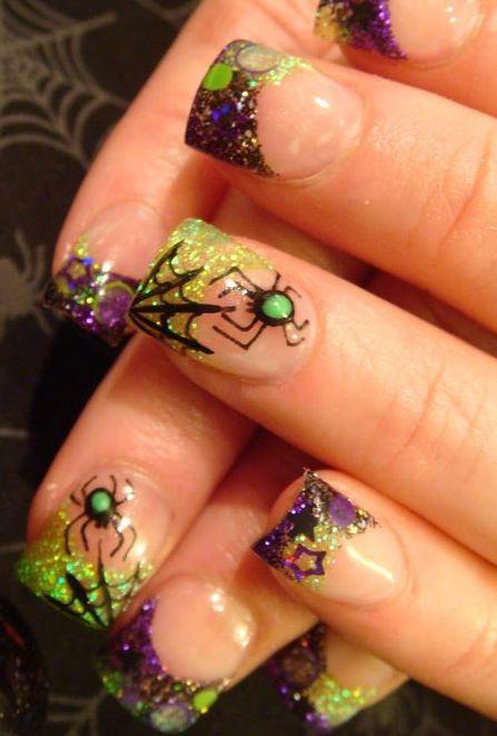 дизайн ногтей пауки  3д Nail Design spiders
