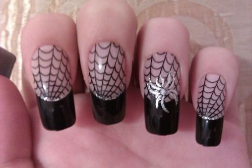 дизайн ногтей пауки  серебристый Nail Design spiders