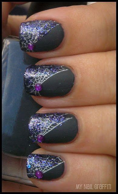 дизайн ногтей пауки  паутина Nail Design spiders