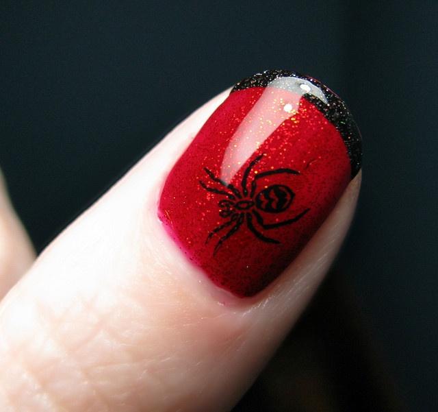 дизайн ногтей пауки  красный Nail Design spiders