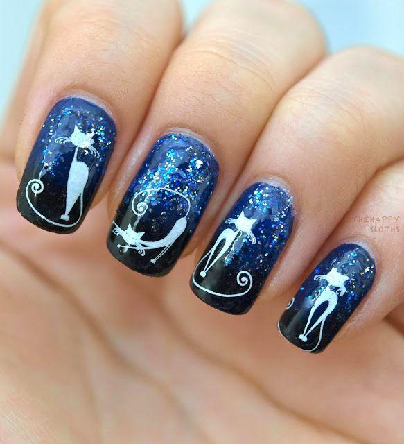 Фото дизайн ногтей с кошкой