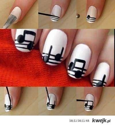 дизайн белых ногтей ноты
