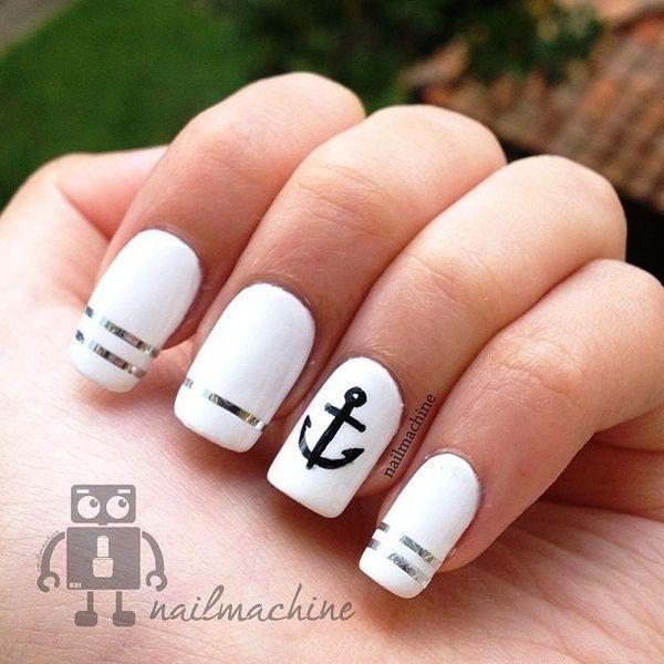 дизайн белых ногтей якорь