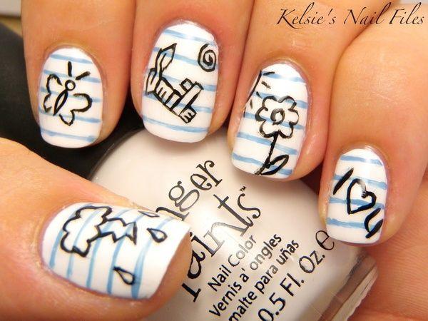 дизайн белых ногтей бабочка ромашка