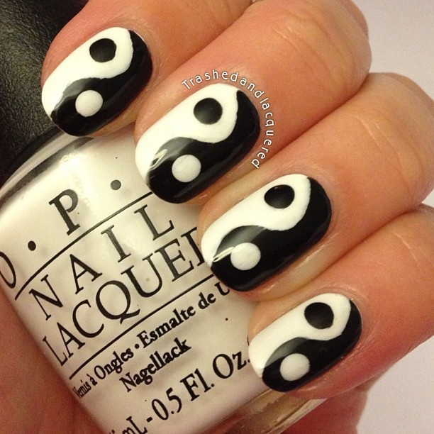 nails yin yang gel polish OPI