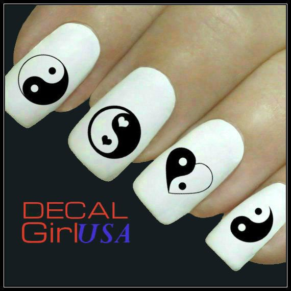 nails yin yang  black and white heart