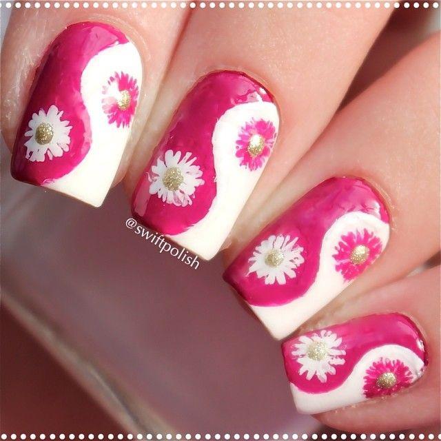 nails yin yang floral