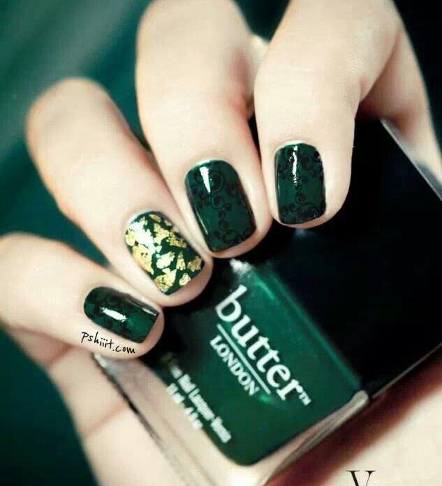 Зеленого цвета рисунки на ногтях