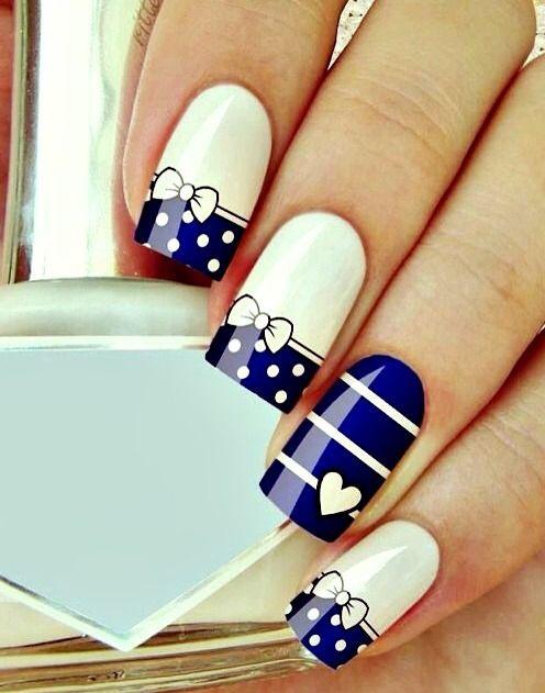 дизайн квадратных ногтей бантик сердечко