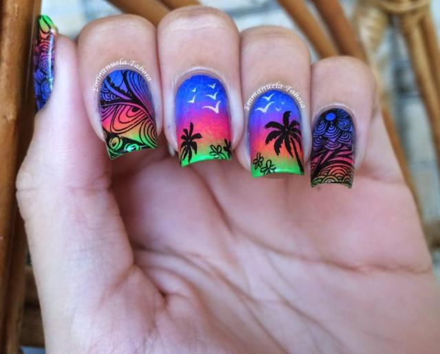 дизайн квадратных ногтей слайдер пальмы