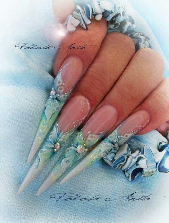 дизайн острых ногтей  стилет малахит sharp nail design