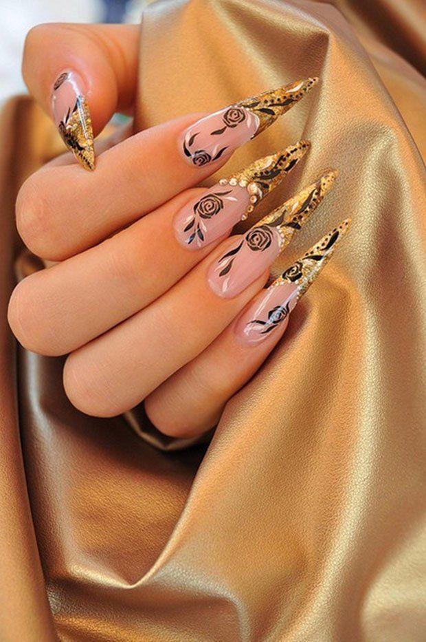 дизайн острых ногтей  цветок золото sharp nail design