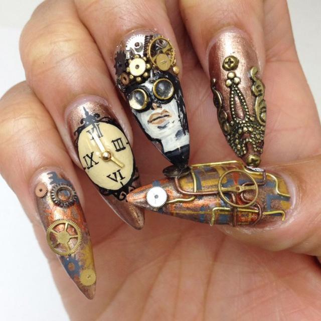 дизайн острых ногтей витаж  sharp nail design