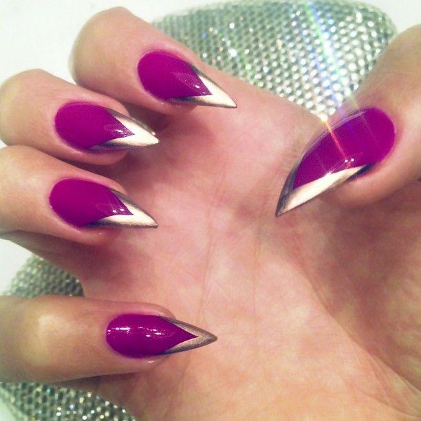 дизайн острых ногтей  красно серебристые sharp nail design