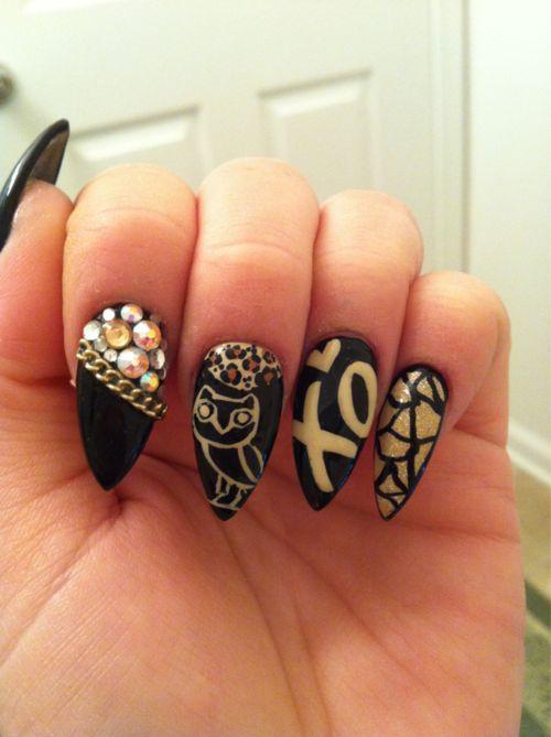 ... острых ногтей сова чёрный sharp nail design
